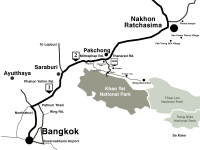 Road map from Bangkok to Pak Chong and Khao Yai