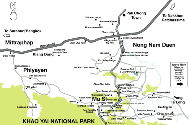 Hotels & Resorts location map in Khao Yai