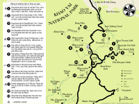 Map of main trekking and hiking trails in Khao Yai national park
